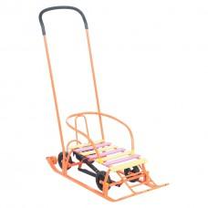 """Санки """"Мишутка 1"""" Универсал, колеса, 30 мм, оранжевые"""
